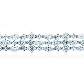 Tiffany & Co. Fringe bracelet of cushion-cut, marquise and round diamonds in platinum.