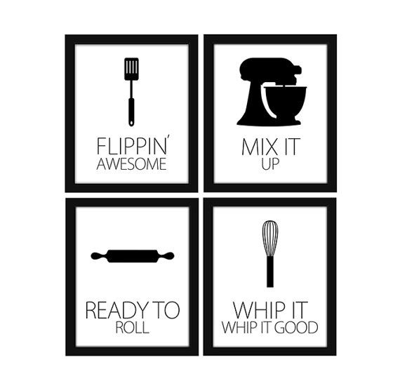 Modern kitchen silhouette printable wall art set wall for Black kitchen wall decor