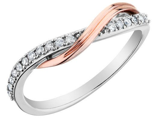 "I'm a sucker for ""wave"" shaped rings. Diamond Promise Ring 1/10 Carat (ctw) in 10K White and Pink Gold"