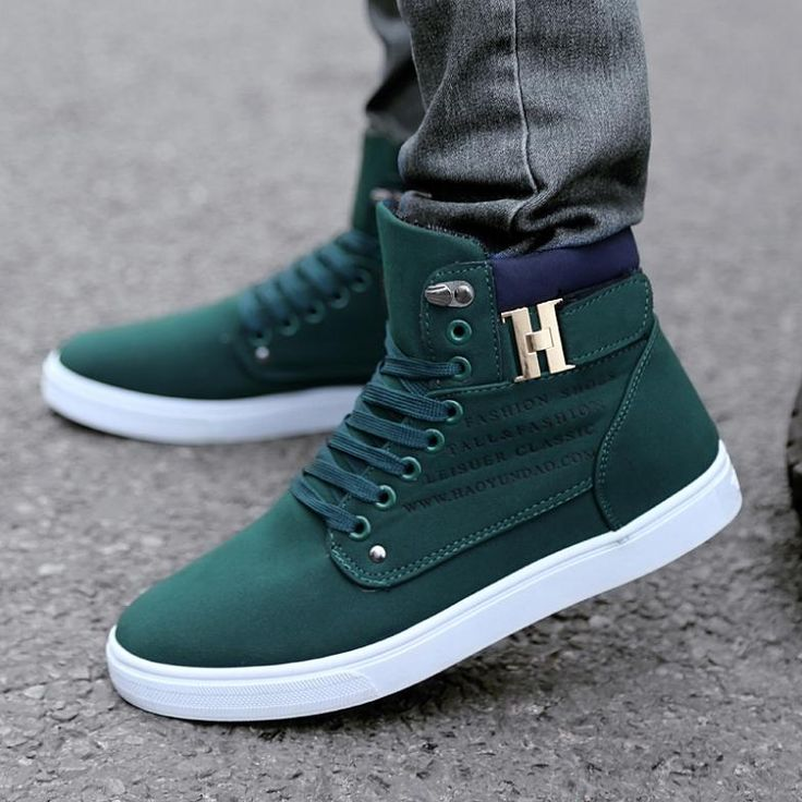 2014 New Zapatos de Hombre Mens Fashion Spring Autumn Leather Shoes Street Men's Casual Fashion High Top Shoes Canvas Sneakers - Green