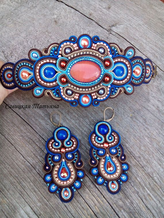 Blue Terracotta Soutache Set Blue Terracotta by MagicalSoutache