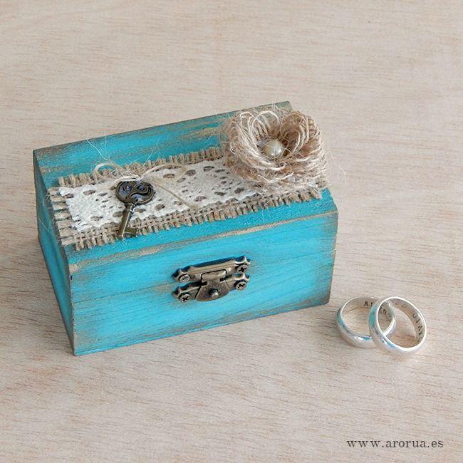 Wedding Ring Box. Caja de madera para llevar las alianzas. Bodas. www.arorua.es