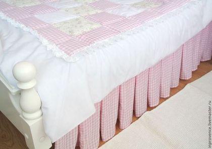 Подзор юбка для кровати розовая в детскую стиль Прованс, Шебби Шик - подзор для кровати