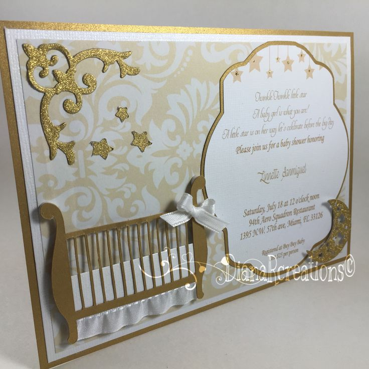 beautiful baby shower invitation Gold and 40