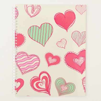 Crazy Hearts Doodles Spiral Weekly/Monthly Planner | Zazzle.com
