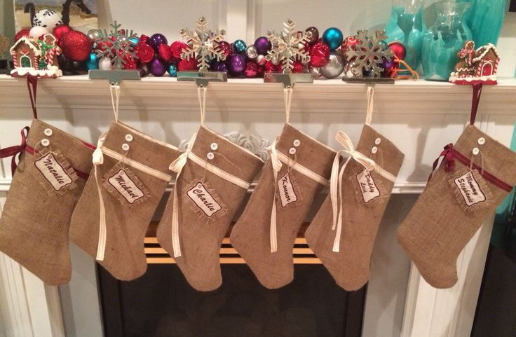 6 burlap stockings, personalised - pinned by pin4etsy.com