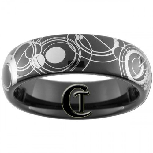 6mm black dome tungsten carbide doctor who design sizes 3 17 - Dr Who Wedding Ring