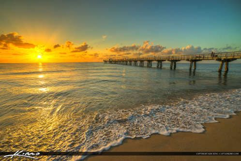 Pompano Beach Pier Broward County Florida Ocean Water