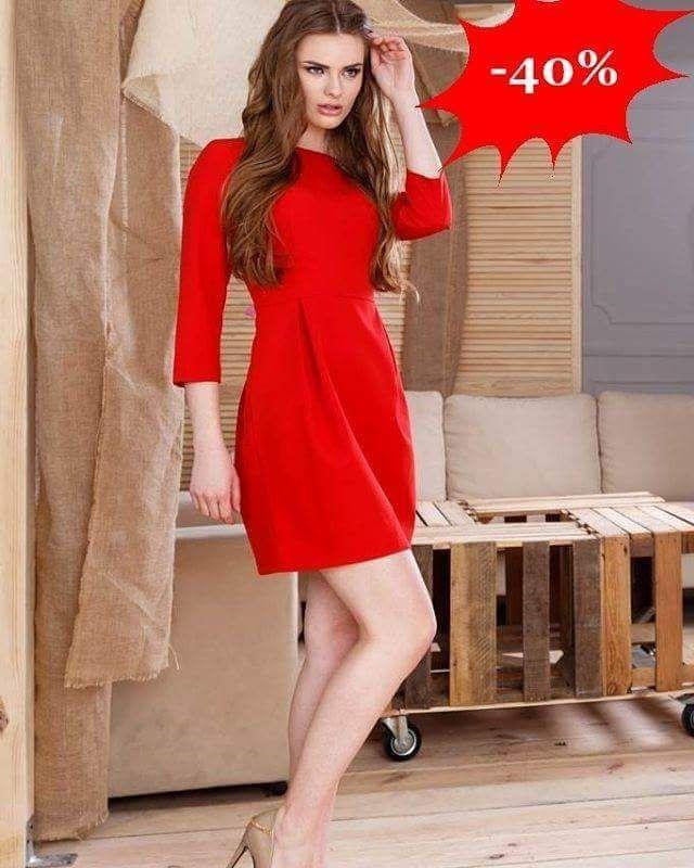 Modna sukienka tulipan z rękawem   W kolorze czerwonym  -40%  http://ift.tt/2ir5Qbm