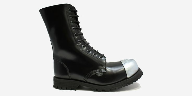 COMMANDO 10 EYELET EXTERNAL STEEL CAPS BOOT - BLACK LEATHER - SINGLE SOLE - Underground