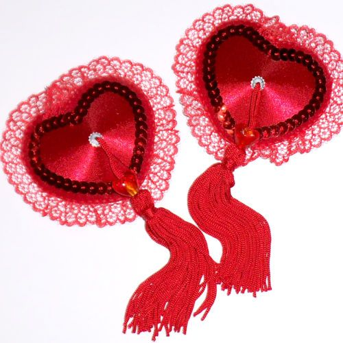 """Romantika"" Satin  Lace Heart Nipple Tassels Pasties Covers Red or Pink 