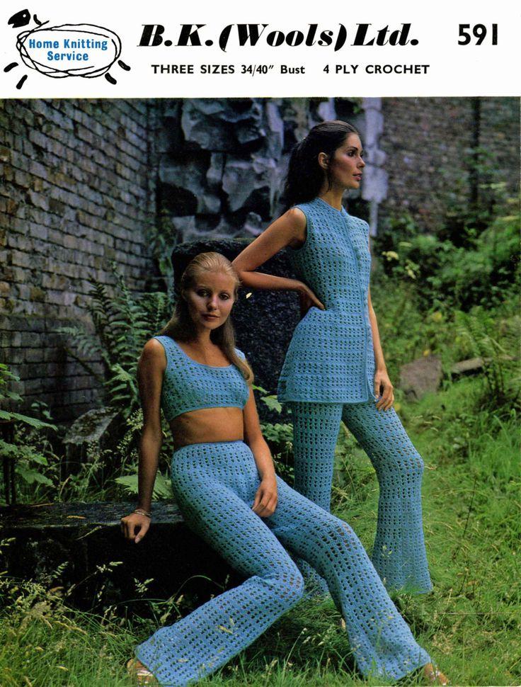 Vintage Ladies Trouser Suit, Crochet Pattern, 1960 (PDF) Pattern, B.K.Wools 591 by LittleJohn2003 on Etsy