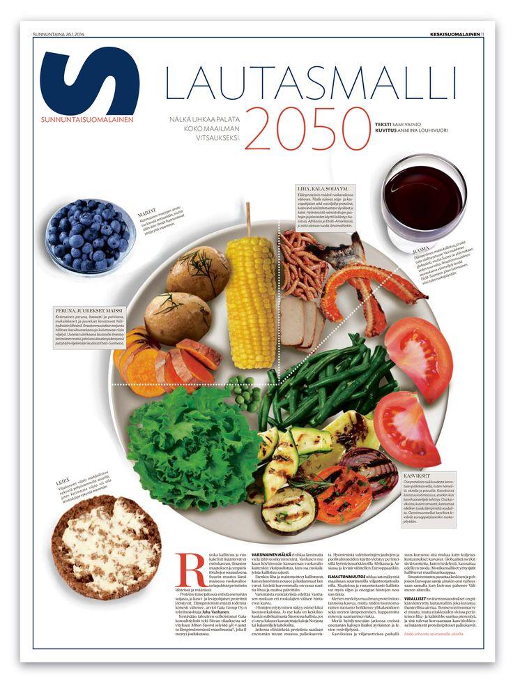 European Newspaper Award Mitä ruokaa syömme vuonna 2050? Ei näytä pahalta ainakaan 26.1.2014 julkaistun jutun mukaan. Teksti: Sami Vainio, kuvitus: Anniina Louhivuori
