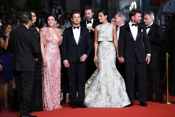 """(L-R) Julia Jones, Elizabeth Olsen, Jeremy Renner, Nicole Sheridan, Director Taylor Sheridan attend the """"The Square"""" screening during the 70th annual Cannes Film Festival at Palais des Festivals on May 20, 2017 in Cannes, France."""