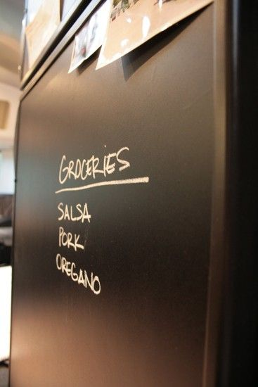 SO going to this with our fridge! RV Mod: Refrigerator Chalkboard