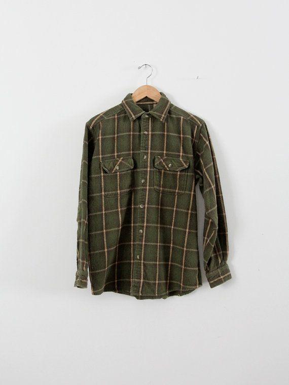 Vintage plaid shirt / men's 80s flannel button down ...