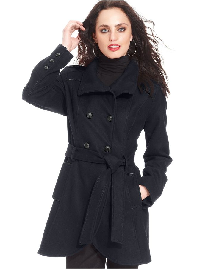Guess Coat Double Breasted Wool Blend Funnel Neck Coats