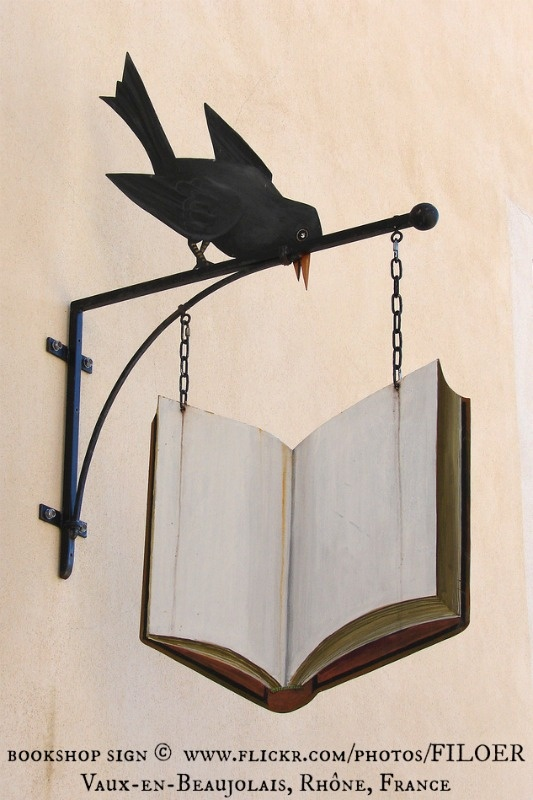 .Bookshop sign, Vaux-en-Beaujolais -Rhône (France) book store sign