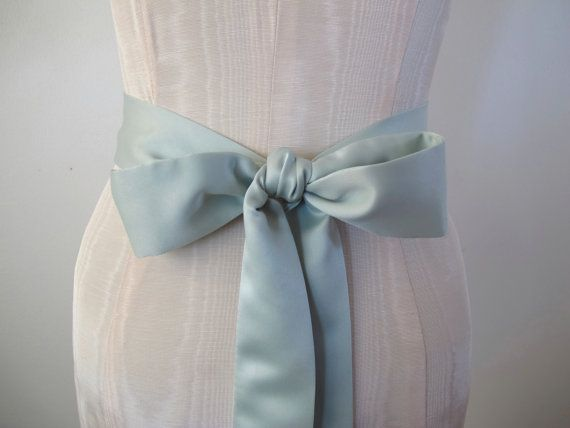 Mint Green Matte Satin Sash Bow Belt Wedding Sash Bridal Sash - custom length - made to order