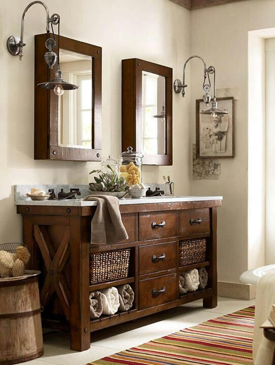 Benchwright Double Sink Console - Rustic Mahogany finish | Pottery Barn - like the use of baskets under the sink