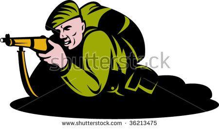 World war two commando soldier aiming a rifle  #commando #retro #illustration