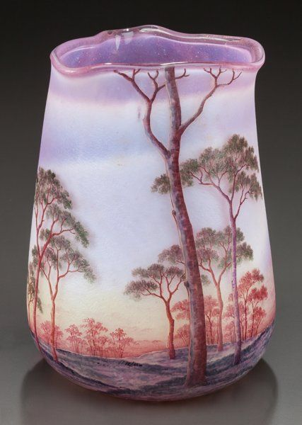 Art Glass:Daum, DAUM ETCHED AND ENAMELED GLASS SUMMER LANDSCAPE VASE. Circa 1900,Enamel: DAUM, NANCY and cross of Lorraine. 6-3/4 inch...