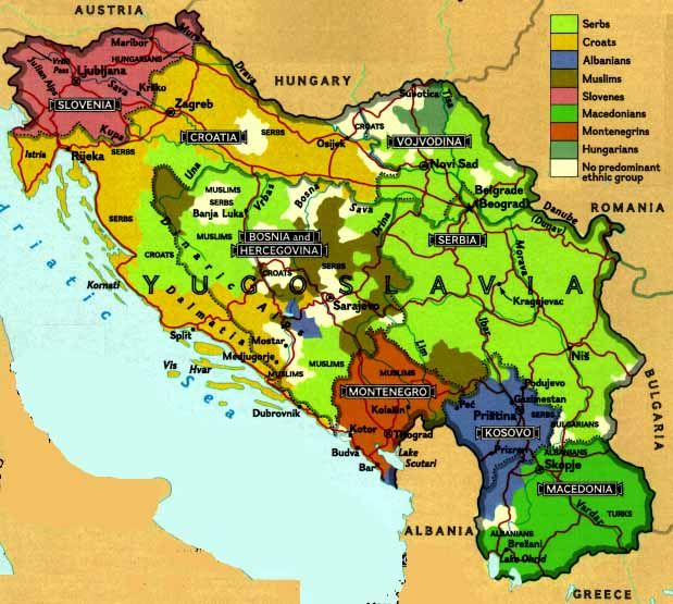 Map of what once was Yugoslavia