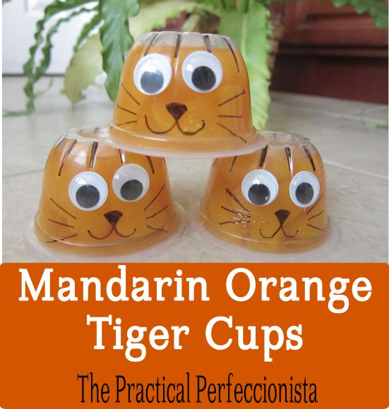 Mandarin orange tiger cups for the tiger party!  Could be used for a Valentine.