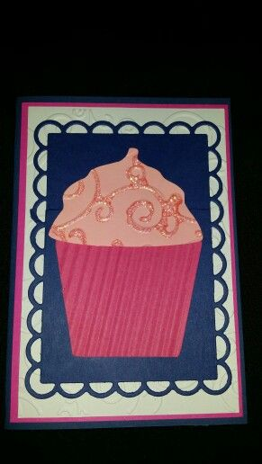 Birthday card using a cup cake.