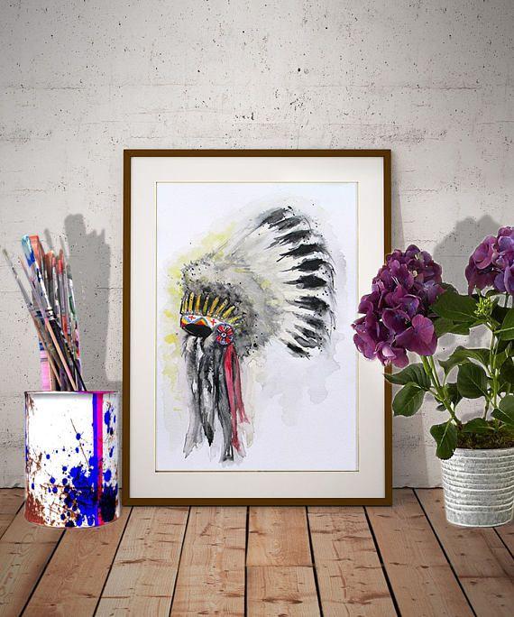 Headdress Watercolor painting Original artwork Native American