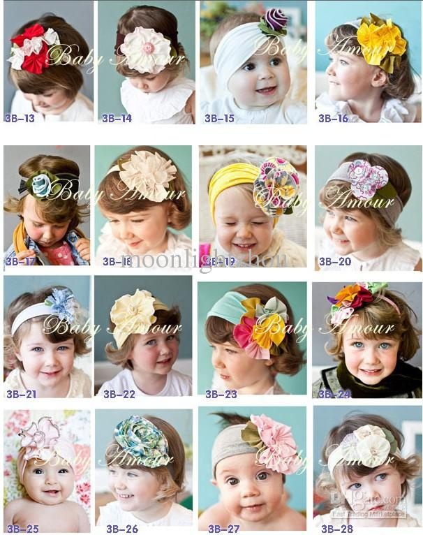 Wholesale NEW 28 designs TOP BABY flower Bouquet HEADBAND hat cap hair band girls head wrap 0524 B ty, Free shipping, $2.34-2.58/Piece | DHgate