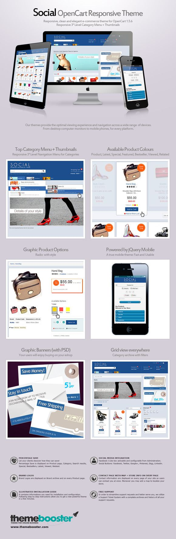 Social Responsive Theme for OpenCart by ThemeBooster.com on Creative Market