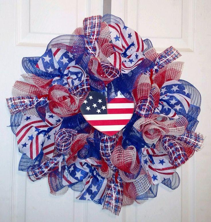 PATRIOTIC USA DECO MESH WREATH - Free Shipping  #DecoMesh