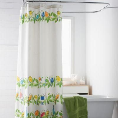 Shower curtain with songbird print. Colorful shower curtain designed with sweet hand-blocked songbirds roosting in rows of leafy branches. Shower curtain made from100% cotton duck cloth.... More Details