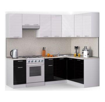 Угловая кухня «Лайн» черно-белая, глянец 2,2х1,4м