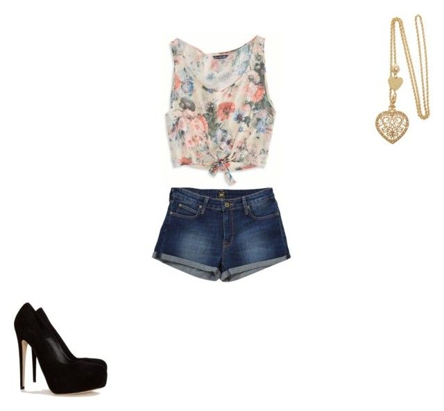 """""""roupa da Melany"""" by bia-blindinha ❤ liked on Polyvore featuring Brian Atwood, Lee, American Eagle Outfitters and LK Designs"""
