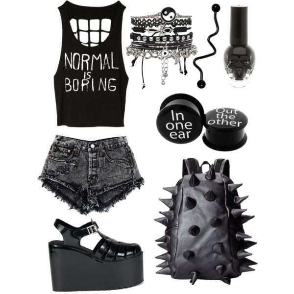 Nu goth summer by bells-dont-ring on Polyvore featuring UNIF, MadPax and ASOS