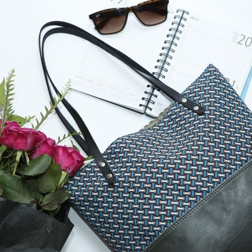 Grey Leather Tote Bag with Turquoise Cotton Print