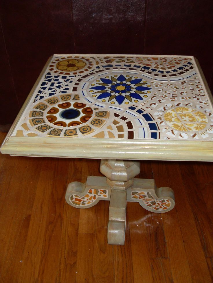 Square Mosaic Table | Retro Plates. This table now lives in … | Flickr