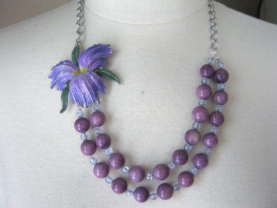 Statement Necklace, Vintage Necklace, Multistrand, Layered, Purple,  Upcycled, Vintage Enamel Flower, Brooch, Jennifer Jones, OOAK - Iris