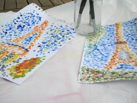homeschool art:  pointellism painting with cotton swabs
