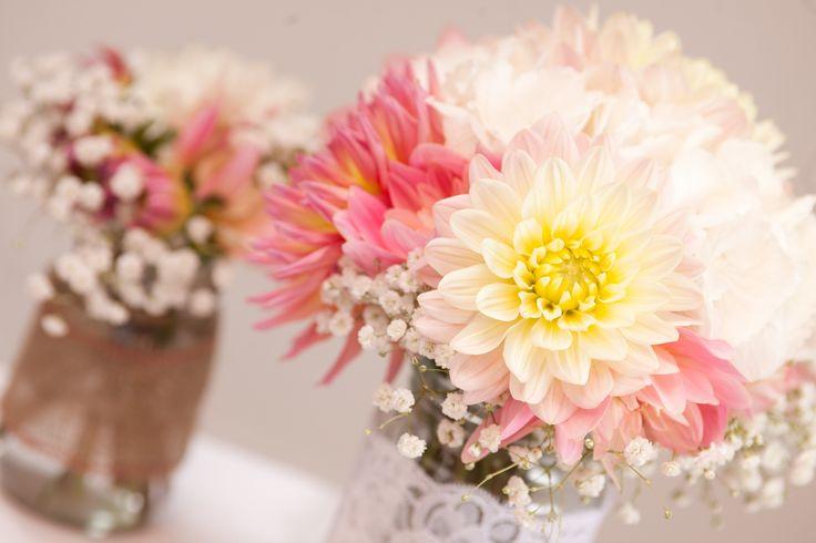 Gypsophila and dahlias wedding flowers
