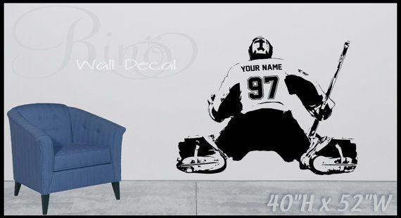 Wall art Custom Large ice Hockey Goaltender Goalie goaler Player choose jersey name and numbers Vinyl wall Decal sticker decor kids bedroom