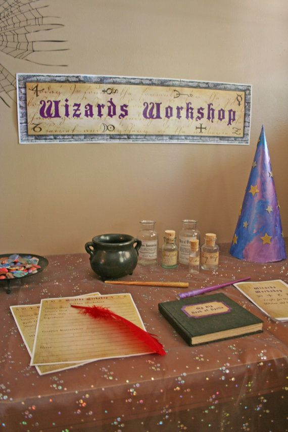 """Wizard's Workshop"":    -- A sheet of original potion bottle labels for you to attach to your own bottles and jars    - A sheet of Magic Spellbook labels for you to attach to kid's ""spellbooks""    - A sheet of wax seal images, with alphabet and symbol seals in a variety of colors    - Instructions and 6 different color templates to create your own rolled paper magic wands"
