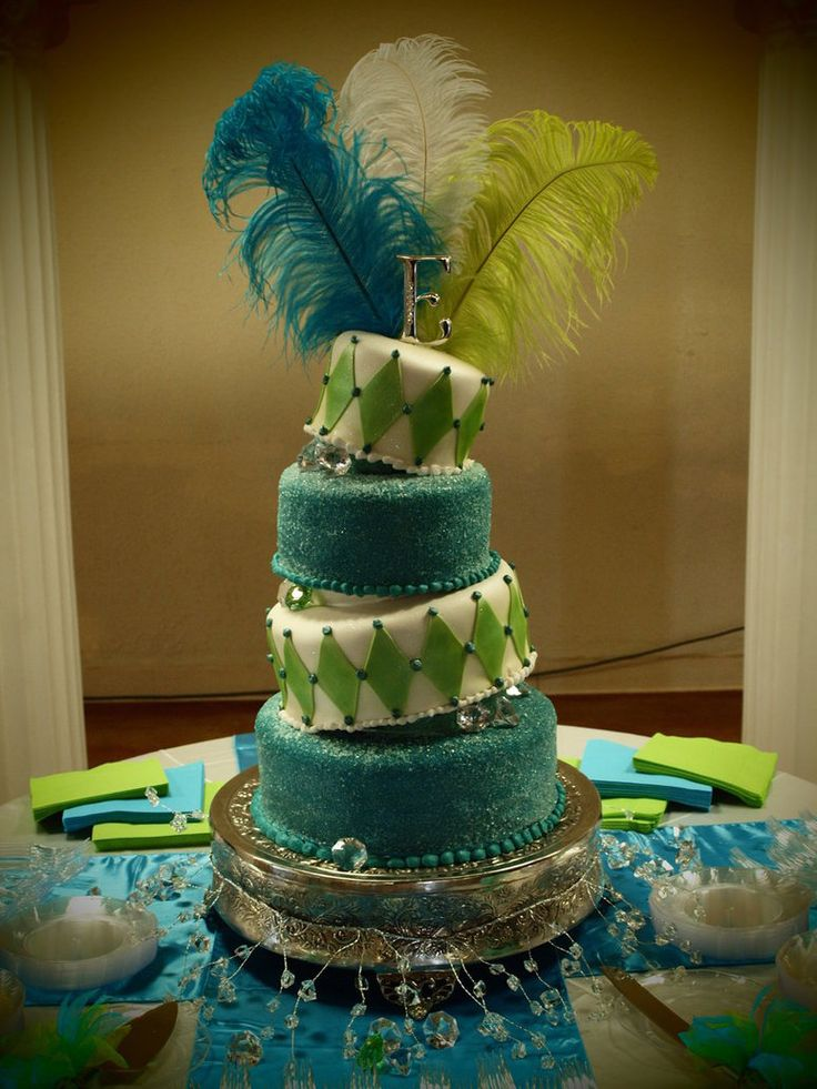 Topsy cake with feather topper