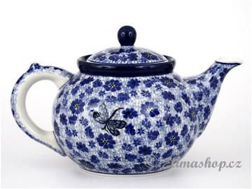This Handmade Polish Pottery TEAPOT is from ELIMAshop.cz . Boleslawiec . Bunzlau . ceramics . stoneware . dragonfly design ( čajník 1,2 l)