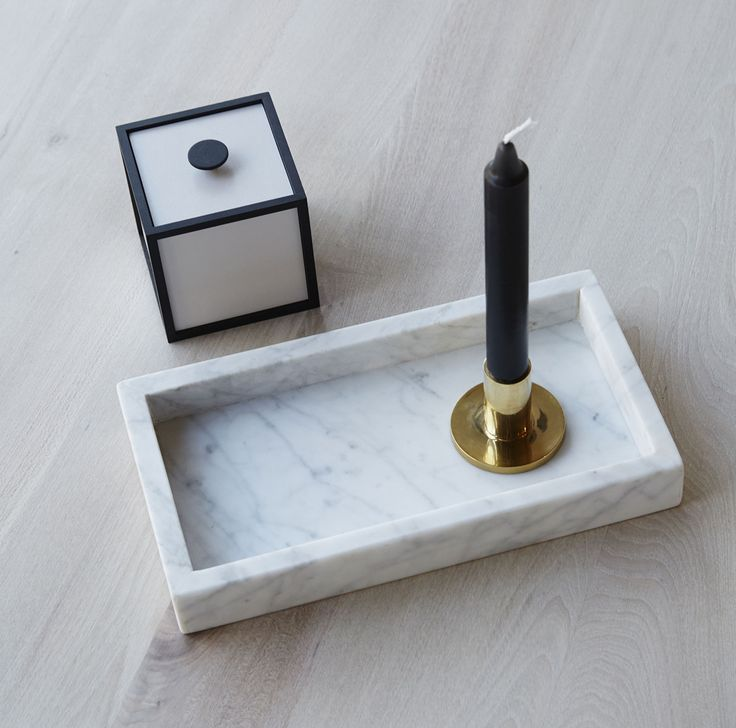 Rectangular Italian Carrara Marble Tray Featured Here With A By Len Frame Storage Box And Br