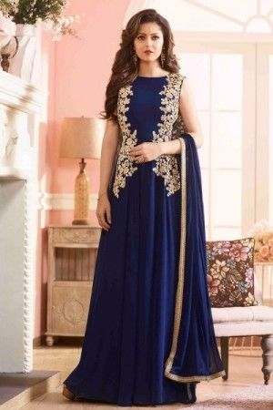 Gorgeous navy blue gown style embroidered wedding...