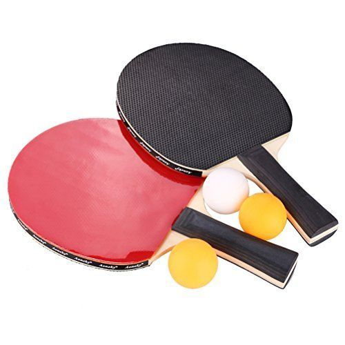 2 player table tennis paddles with cover and balls * These paddles are standard competition colors with one red face and one black face * There is a thin foam layer attached directly to the wood. Then, there is the latex layer with the smooth side out * Handle: concave, rubber: 3 star, sponge: 2 millimeter, blade: 5-ply * (Placed within the Amazon Associates program) * 22:57 Mar 9 2017