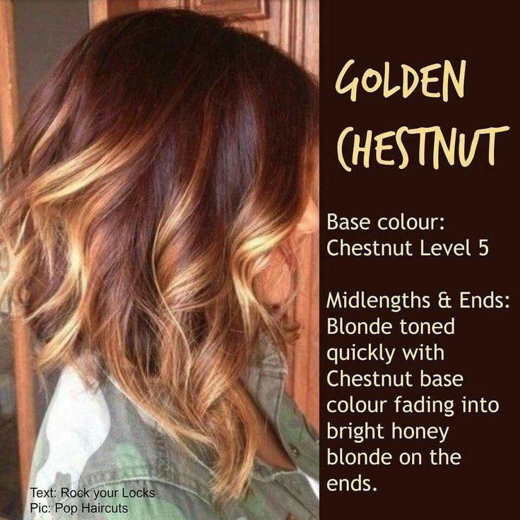Golden chestnut - blonde toned with chestnut base, bright honey blonde